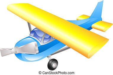 Aeroplane cartoon illustration vector in blue and yellow