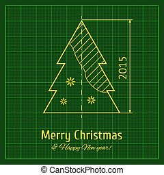 Christmas tree sketch on green architect graph paper,...