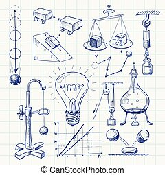 Physics - Hand-drawn physics doodle. Eps8. CMYK. Organized...