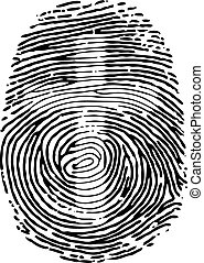 Thumb Print - Vector Thumb Print with cross symbol. Eps8.