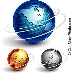 Globes - Three brushed metal globes. Eps8. CMYK. Organized...