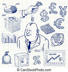 Finance - Hand-drawn finance doodle. Eps8. CMYK. Organized...