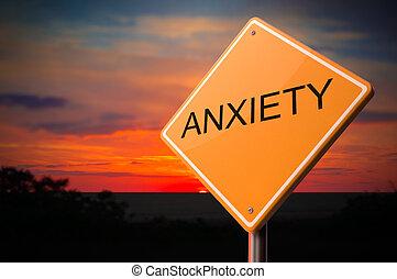 ansiedade, inscrição, ligado, aviso, estrada,...
