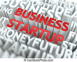 Business Startup - Wordcloud Concept - Business Startup -...