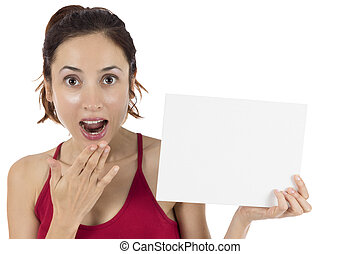 Surprised woman showing a blank advertig poster