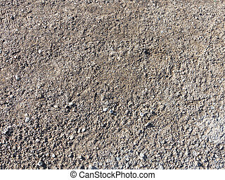 macadam - gray fine gravel and sand on the old road