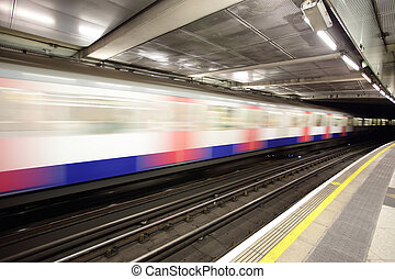 train in motion at London