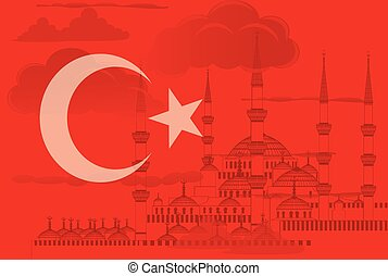 Turkey symbol with Blue mosque vector - Turkey symbol with...