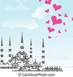 I Love Istanbul Design vector The Blue Mosque, Sultanahmet...