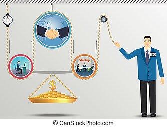 empresa / negocio, elevación, mecanismo, de, Dinero.,...