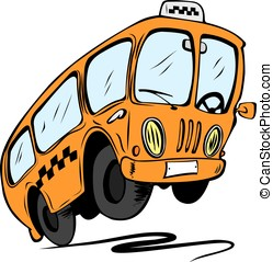 Cartoon bus, isolated on a white background