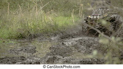 A 4x4 offroad vehicle splunging on the mud FS700 4K - A 4x4...