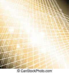 Abstract golden grid circle light background