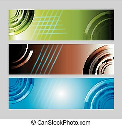 Vector set of three banners background