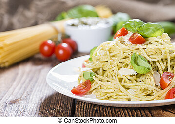 Spaghetti with basil Pesto, Parmesan Cheese and Tomatoes