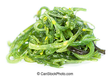 Kelp Salad isolated on white - Kelp Salad detailed close-up...