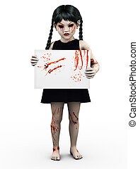 A gothic blood covered small girl holding sign. - An evil...