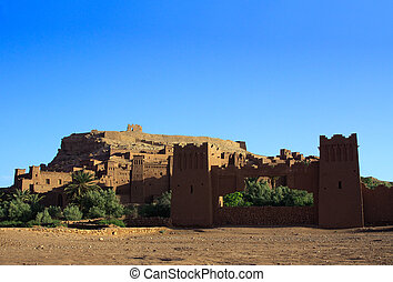 Moroccan Casbah - morning view on traditional Moroccan...