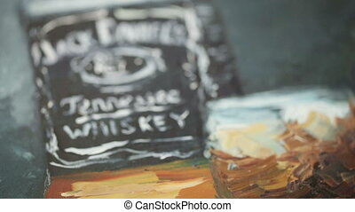 Painted whiskey - Parts of picture with whiskey, painted...
