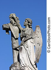Angel and cross gravestone marker - Stone angel and cross...