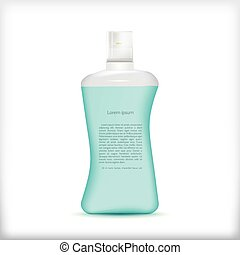 Vector illustration of shampoo bottle - Transparent plastic...