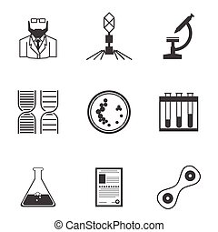 Black vector icons for bacteriology - Set of black...