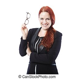young confident business woman with glasses - young smiling...