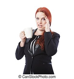 young business woman is tired with coffee in her hand