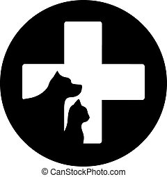 black round veterinary care icon with cross and pet