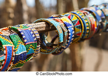 Masai traditional jewelry - Colorful traditional jewelry of...