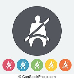 Seat belt. Single flat icon on the circle. Vector...