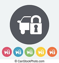Locking car doors. Single flat icon on the circle. Vector...