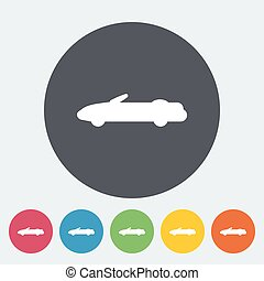 Convertible top down. Single flat icon on the circle. Vector...