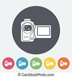 Video camera single icon. - Video camera. Single flat icon...