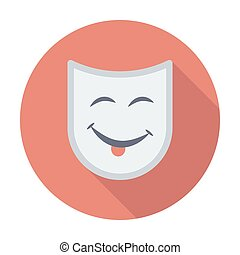 Theatrical mask. Single flat color icon. Vector...