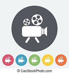 Videocamera. Single flat icon on the circle. Vector...