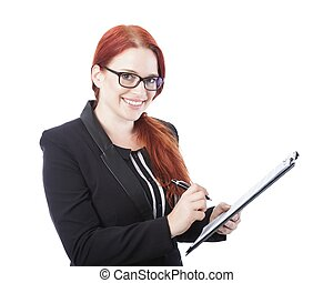 young business woman sign documents in her hand - young...