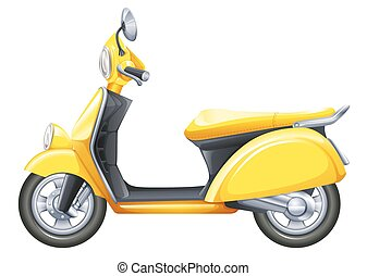 A yellow scooter - Illustration of a yellow scooter on a...