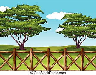 A beautiful landscape with a fence
