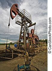Oil pump in the field - Closeup of Oil pum in the fields...