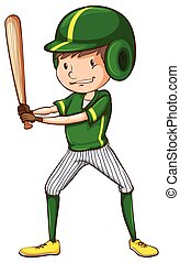A baseball player in green uniform - Illustration of a...