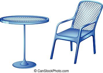 A blue table and chair - Illustration of a blue table and...
