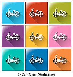 Buttons with bicycles - Illustration of the buttons with...