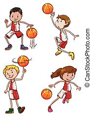 Basketball players - Illustration of the basketball players...