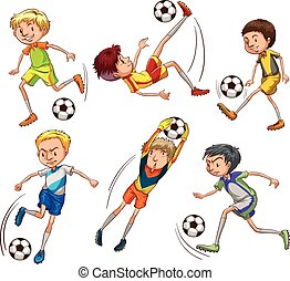 Sketches of the soccer players