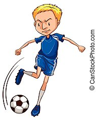 A soccer player wearing a blue uniform - Illustration of a...