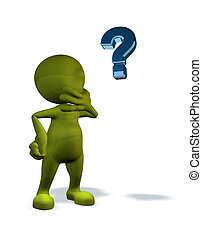 3d rendered character with question mark - 3d rendered...