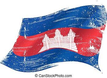 zwaaiende, Cambodian, grunge, vlag,