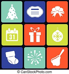 New Year icons square