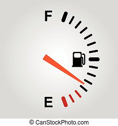 Fuel indication - Fuel gauge on light gray background. eps10